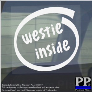 1 x Westie Inside-Window,Car,Van,Sticker,Sign,Adhesive,Dog,Pet,On,Board,Terrier